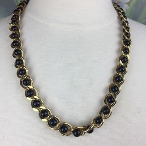 Napier Gold Toned Encircled Black Bead Necklace